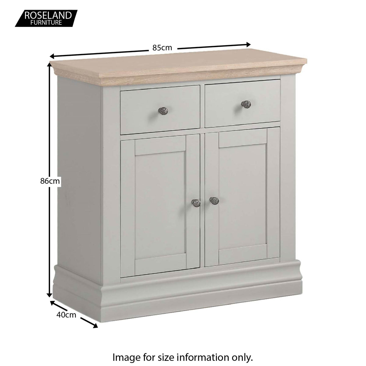 Dimensions from Melrose Grey Mini Sideboard from Roseland Furniture