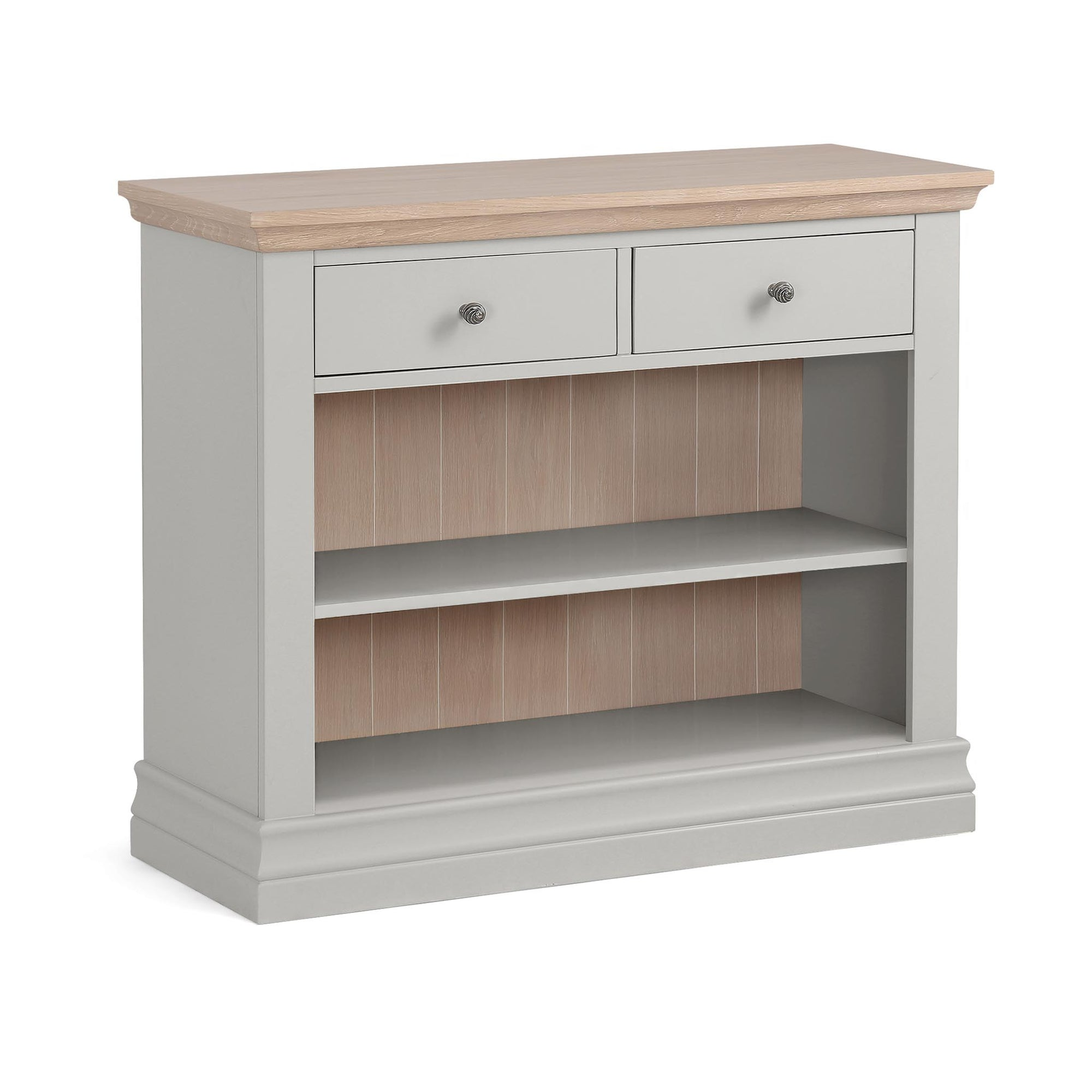 Melrose Grey Low Bookcase with Drawers from Roseland Furniture