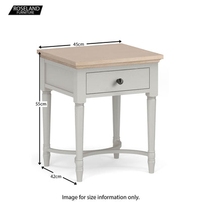 Dimensions for the Melrose Grey Lamp Table from Roseland Furniture
