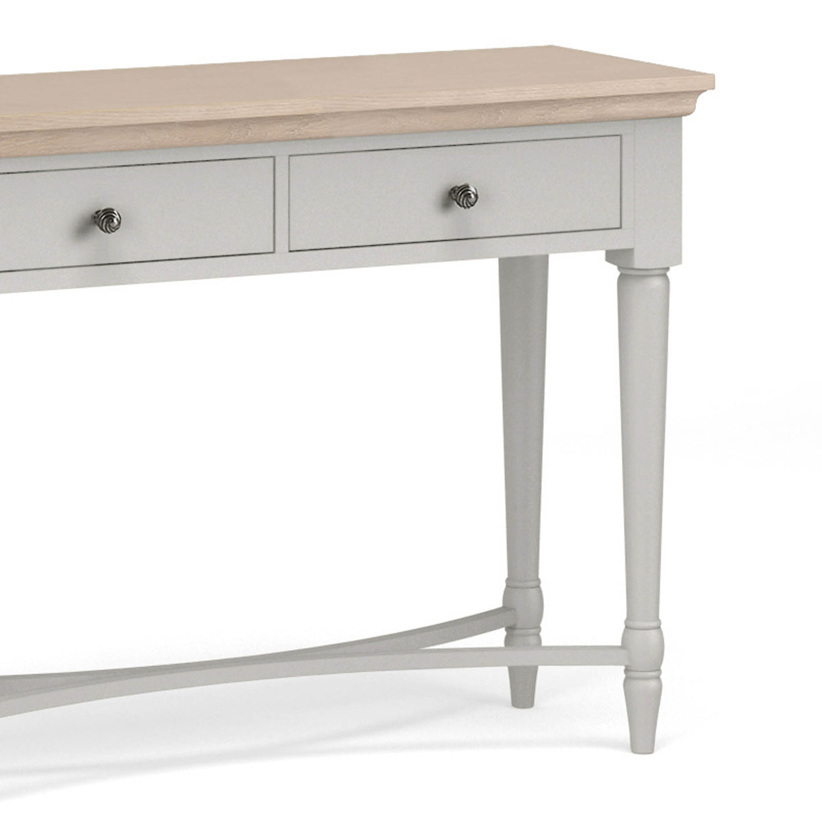 close up of the limed oak top on the Melrose Grey Console Table from Roseland Furniture