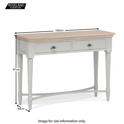 Dimensions for the Melrose Grey Console Table from Roseland Furniture