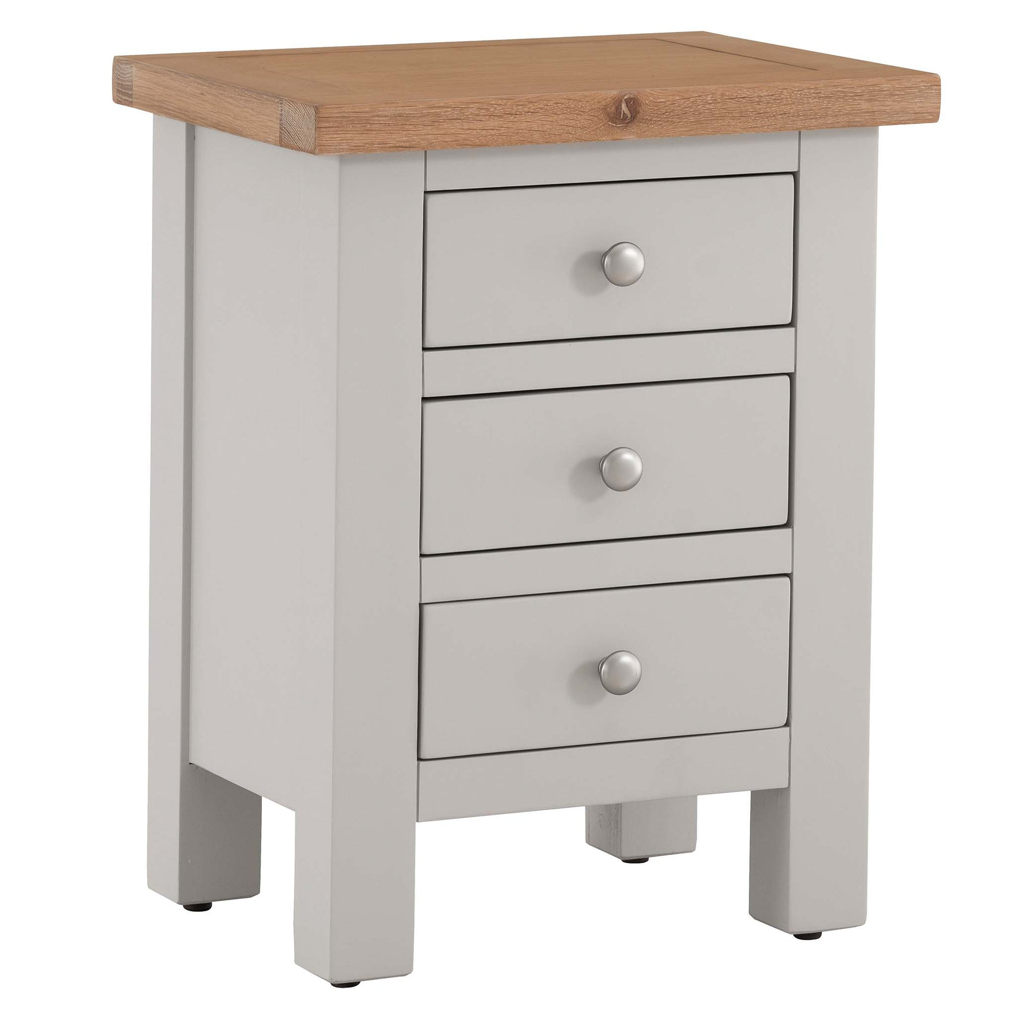 Charlestown Grey Bedside Table with Oak Top by Roseland Furniture