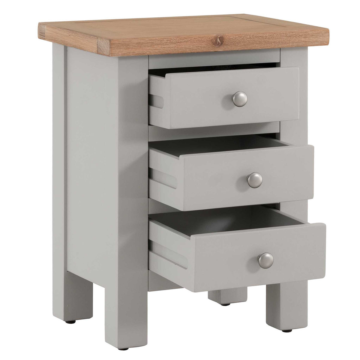 3 open drawer view of Charlestown Grey Bedside Table with Oak Top by Roseland Furniture