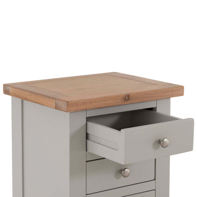 Close up of oak top on Charlestown Grey 3 Drawer Bedside Table by Roseland Furniture