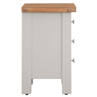 Side view of Charlestown Grey Bedside Table with Oak Top by Roseland Furniture