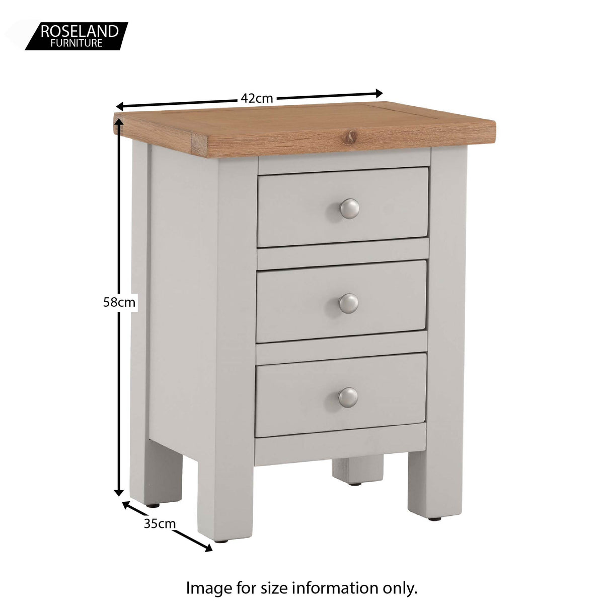 Dimensions for Charlestown Grey Bedside Table with Oak Top by Roseland Furniture
