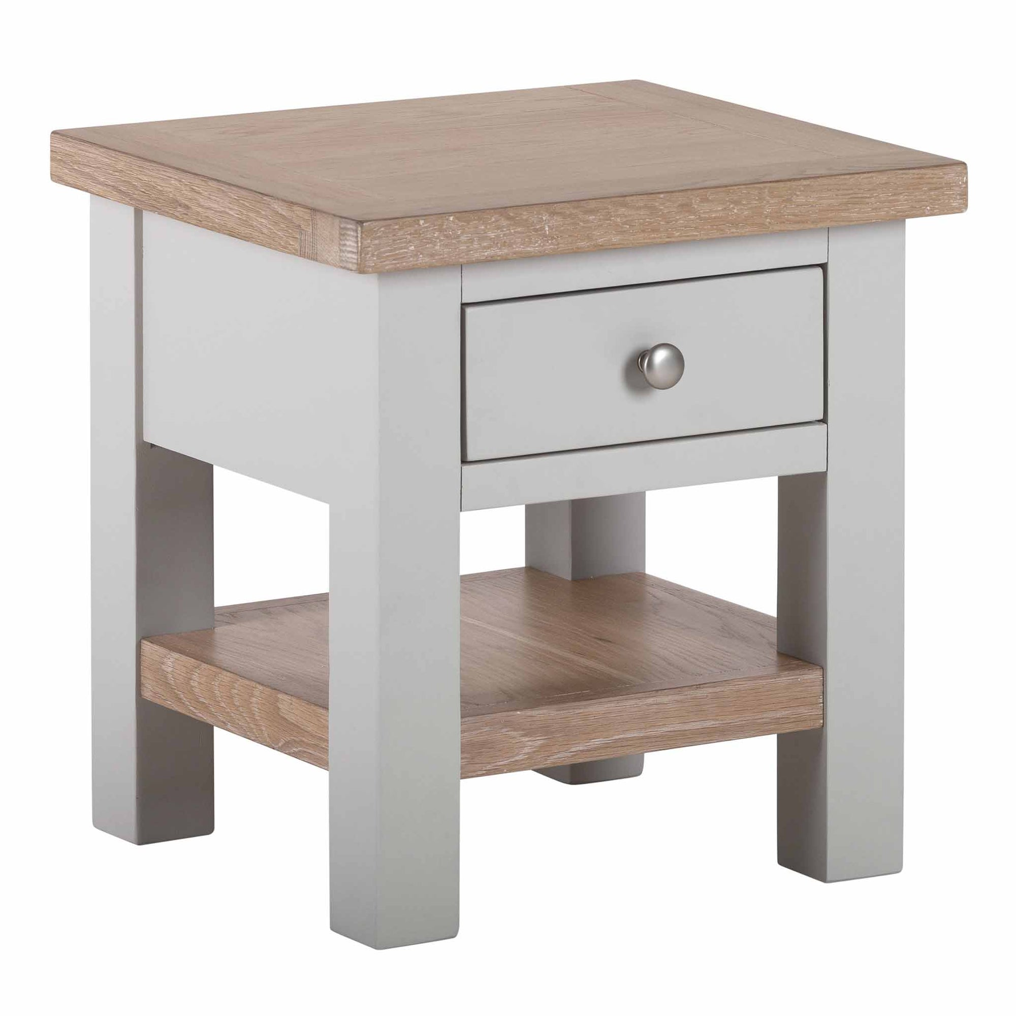 Charlestown Grey Lamp Table with Oak Top from Roseland Furniture