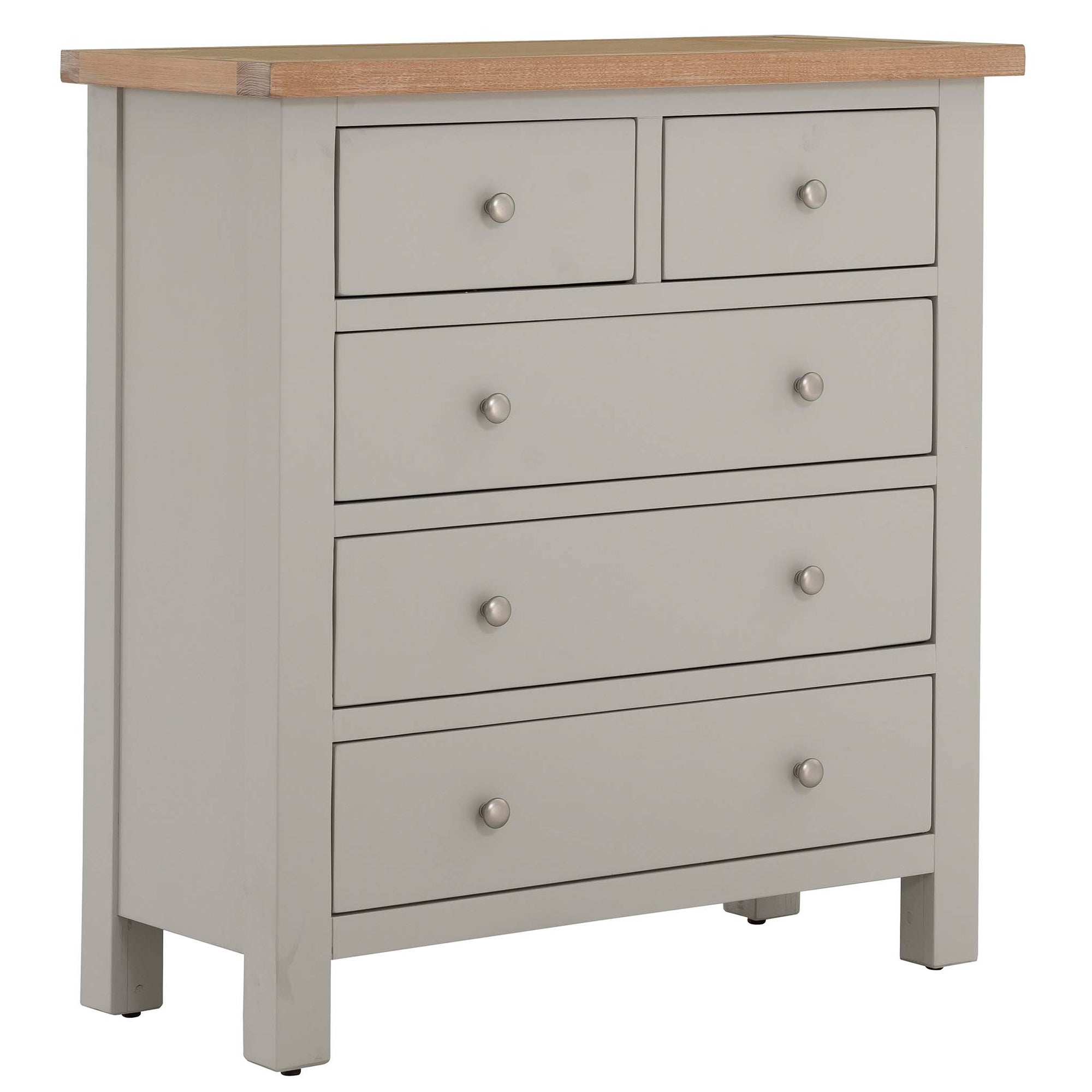 Charlestown Grey 2 over 3 Chest of Drawers with Oak Top from Roseland Furniture