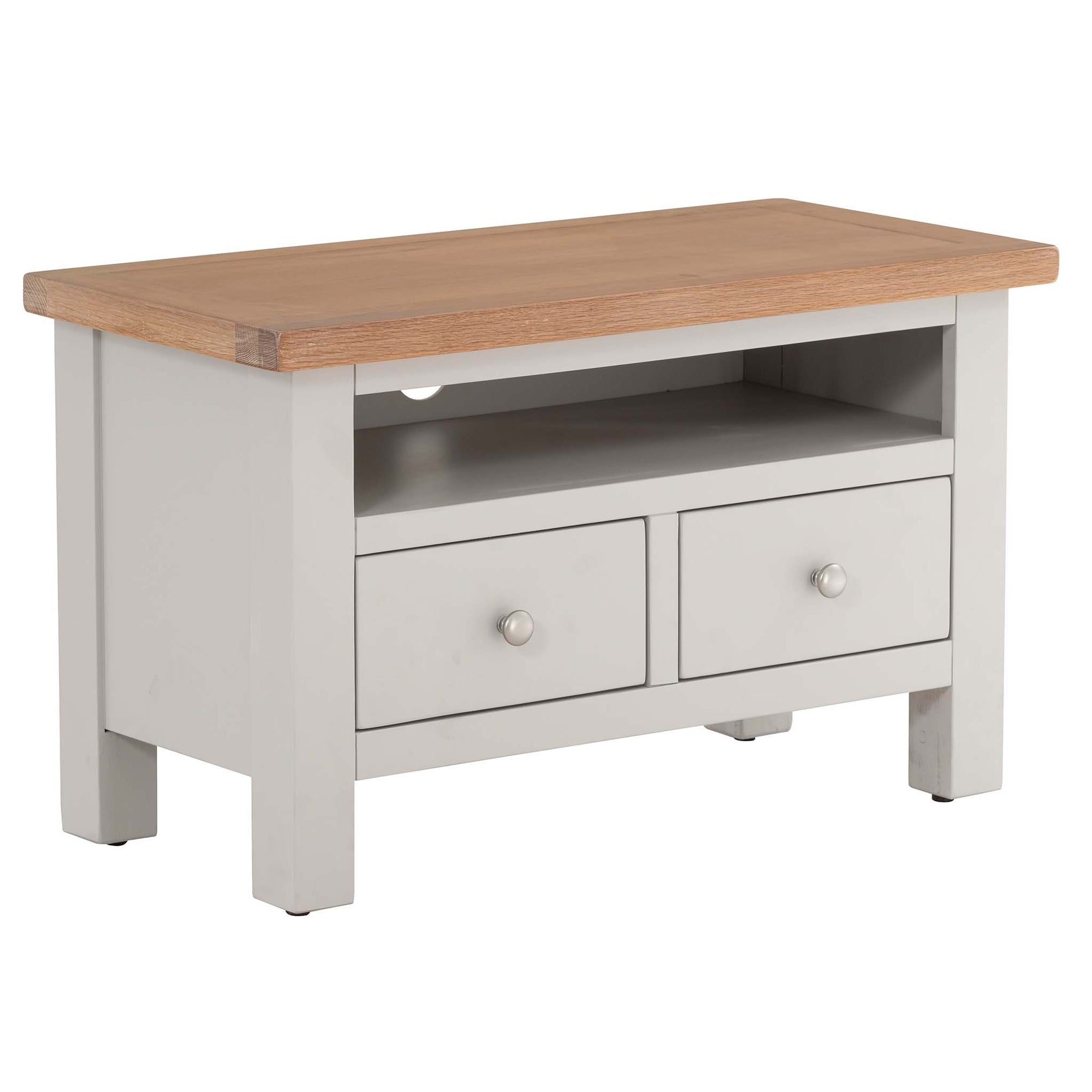 Charlestown Grey Small TV Stand with Oak Top from Roseland Furniture