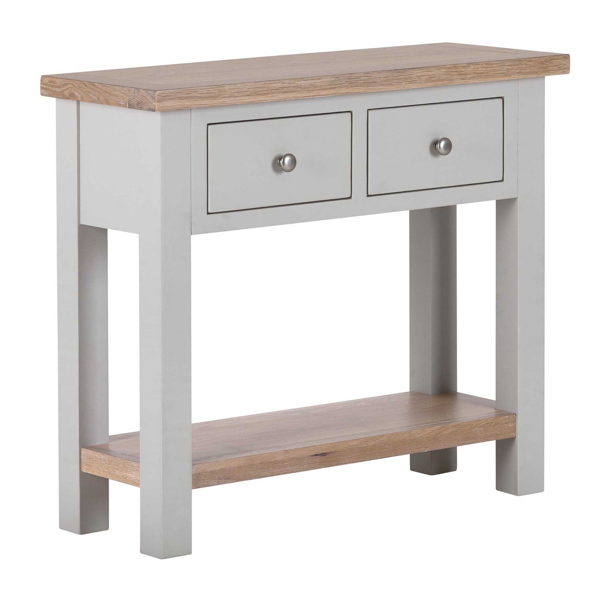 Charlestown Grey Console Table with Oak Top from Roseland Furniture