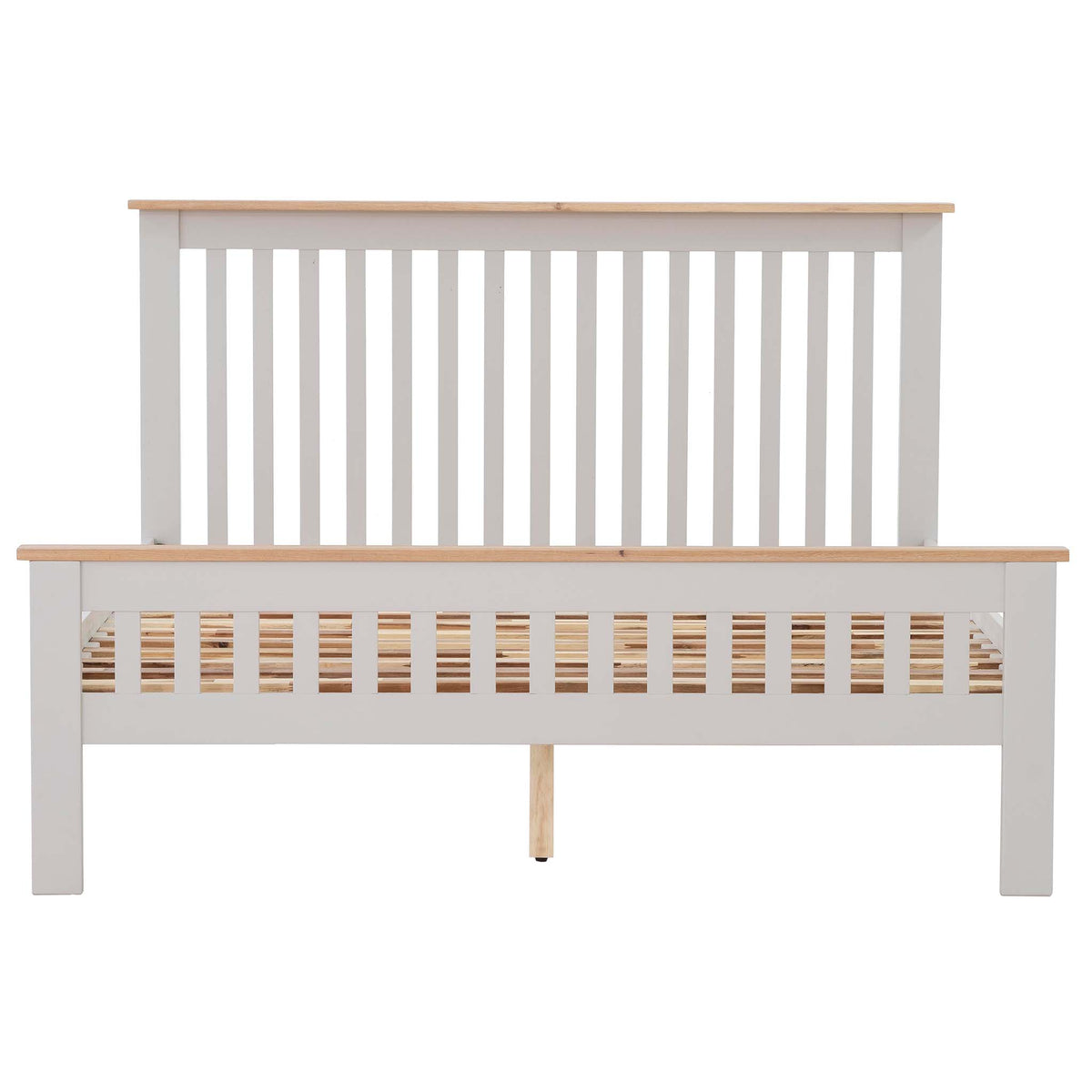 Charlestown Grey Solid Wood 4 ft 6 Double Bed Frame with Oak