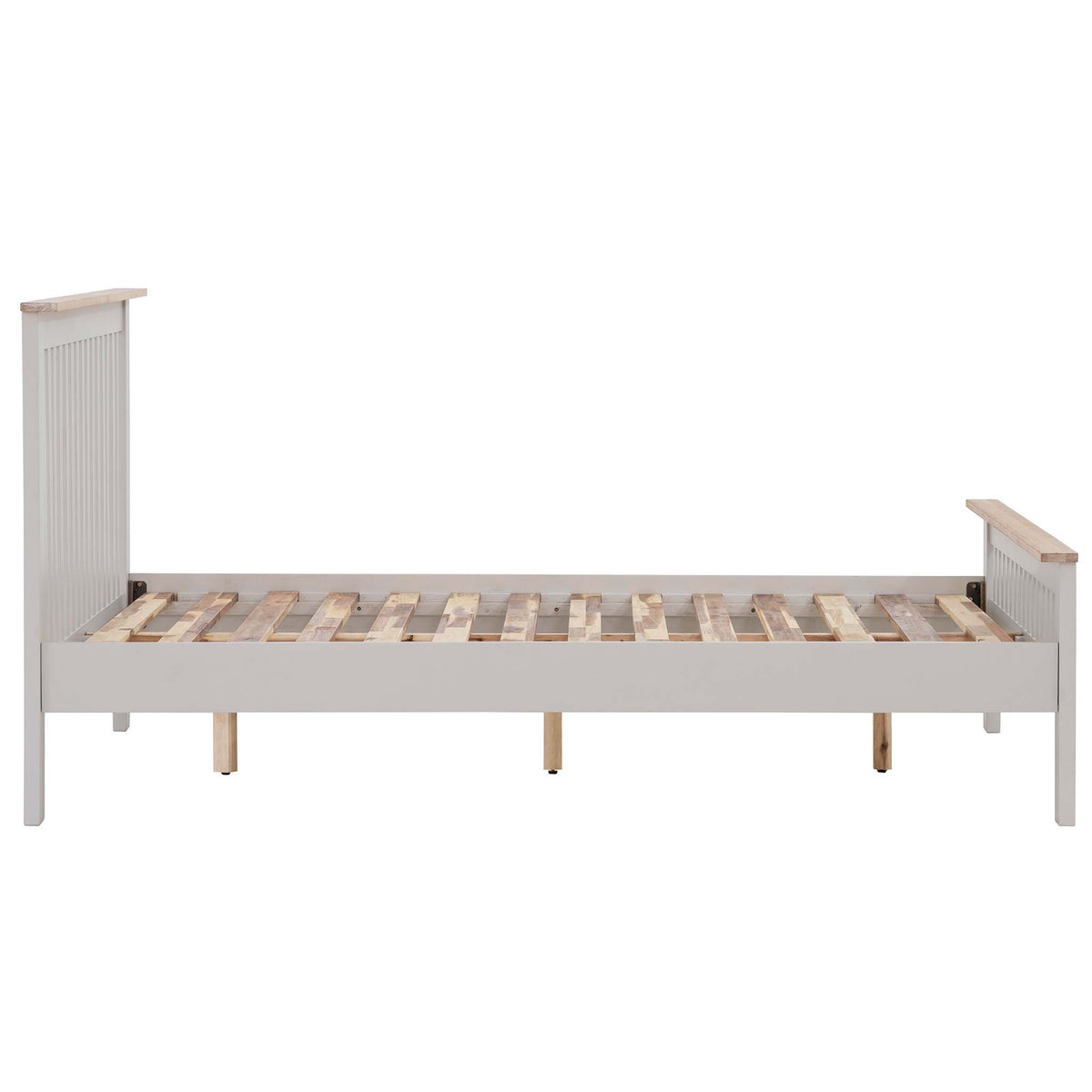 Side view of Charlestown Grey Solid Wood 4 ft 6 Double Bed Frame