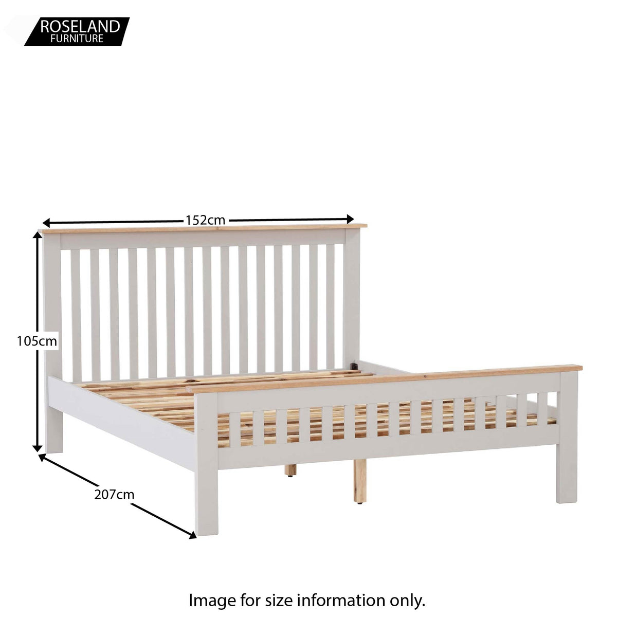 Dimensions for Charlestown Grey Solid Wood 4 ft 6 Double Bed Frame