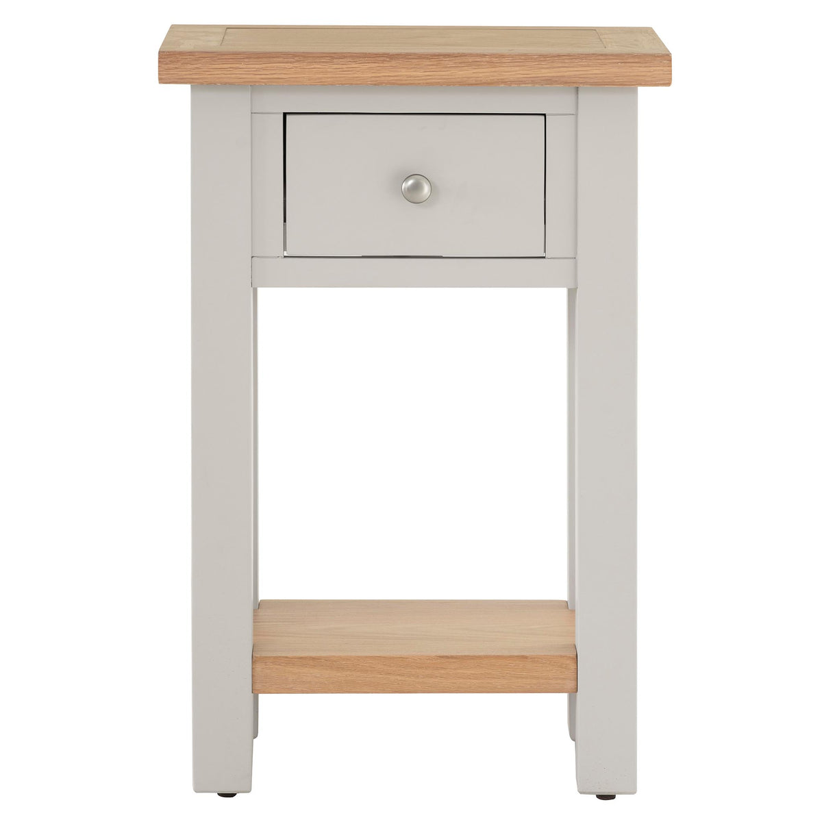 Front view of Charlestown Grey Telephone Table with Oak Top from Roseland Furniture