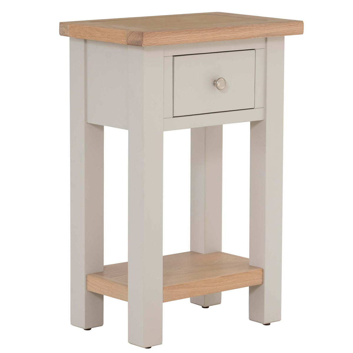 Charlestown Grey Telephone Table with Oak Top from Roseland Furniture
