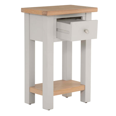 Opened drawer view of Charlestown Grey Telephone Table with Oak Top from Roseland Furniture