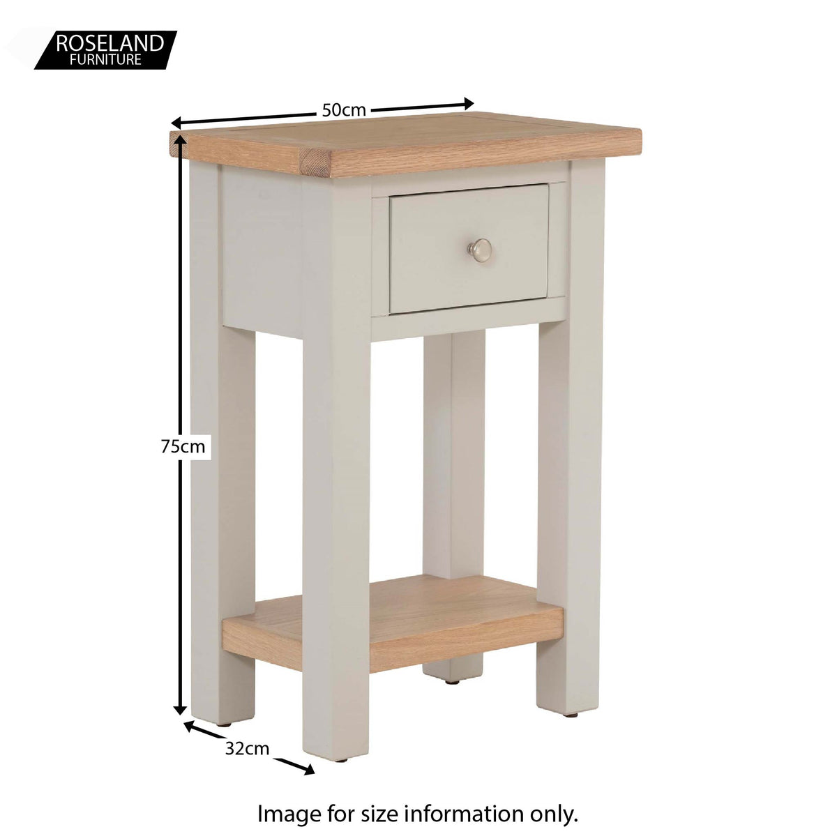 Dimensions for the Charlestown Grey Telephone Table with Oak Top from Roseland Furniture