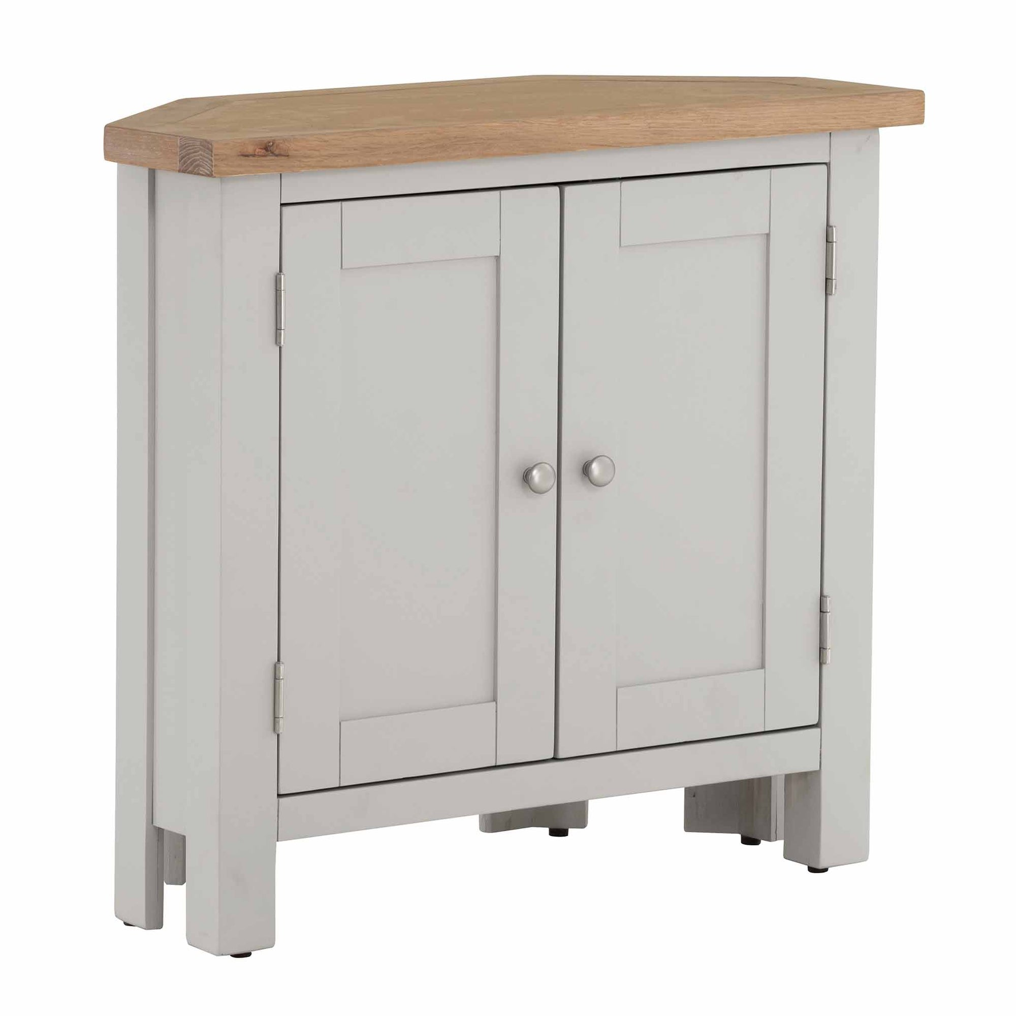 Charlestown Grey Corner Cupboard with Oak Top from Roseland Furniture