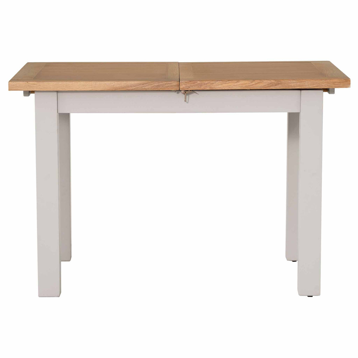 Side view of the compacted Charlestown Grey Extendable Dining Table from Roseland Furniture