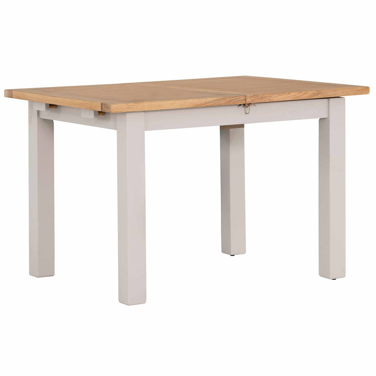 Compact view of the Charlestown Grey Extendable Dining Table from Roseland Furniture