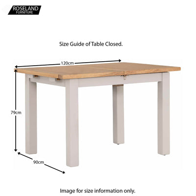 Dimensions of the closed Charlestown Grey Extendable Dining Table from Roseland Furniture