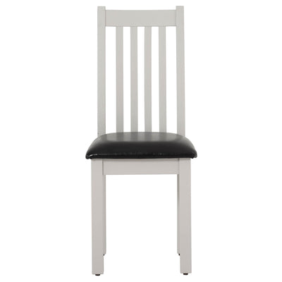 front view of Charlestown Grey Dining Chair with Bi-Cast Leather Seat from Roseland Furniture