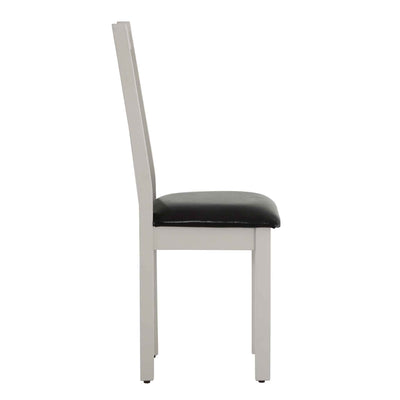 Side view of Charlestown Grey Dining Chair with Bi-Cast Leather Seat from Roseland Furniture