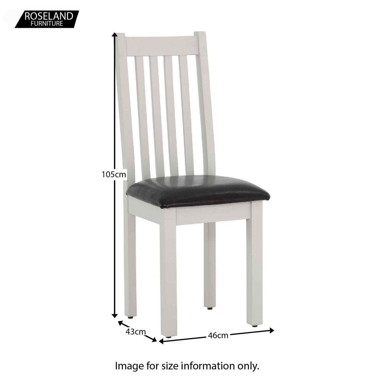 Dimensions for Charlestown Grey Dining Chair with Bi-Cast Leather Seat from Roseland Furniture