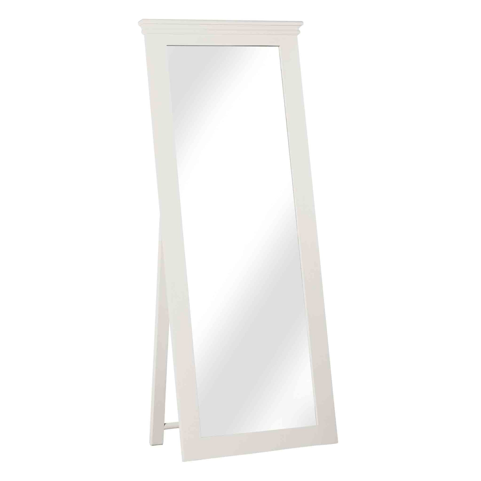 Melrose White Tall Freestanding Cheval Mirror from Roseland Furniture
