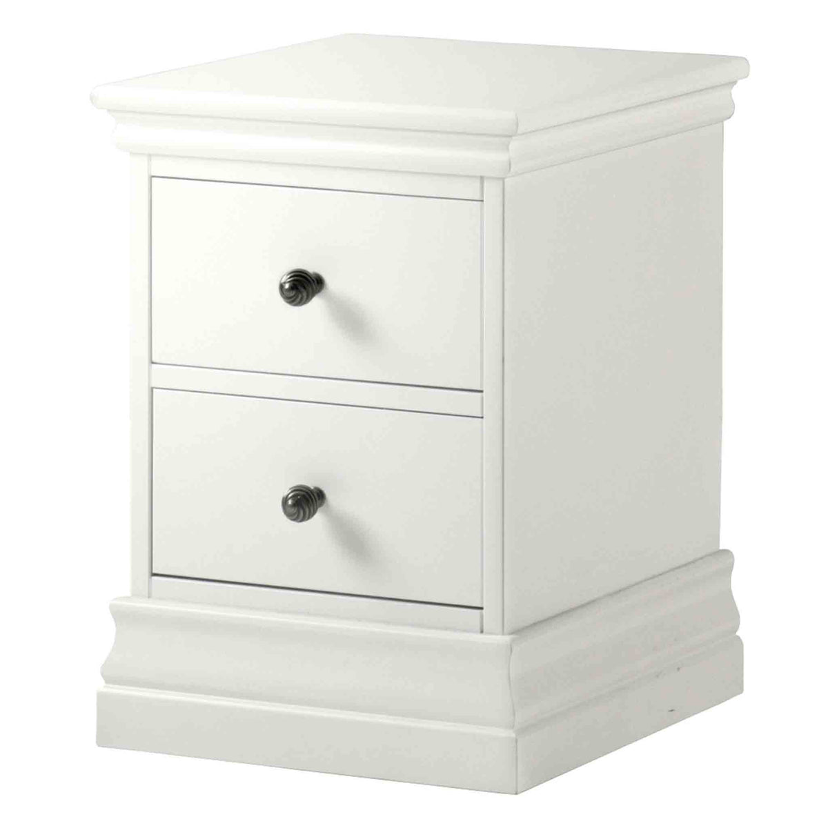 Melrose White Narrow Bedside Cabinet from Roseland Furniture