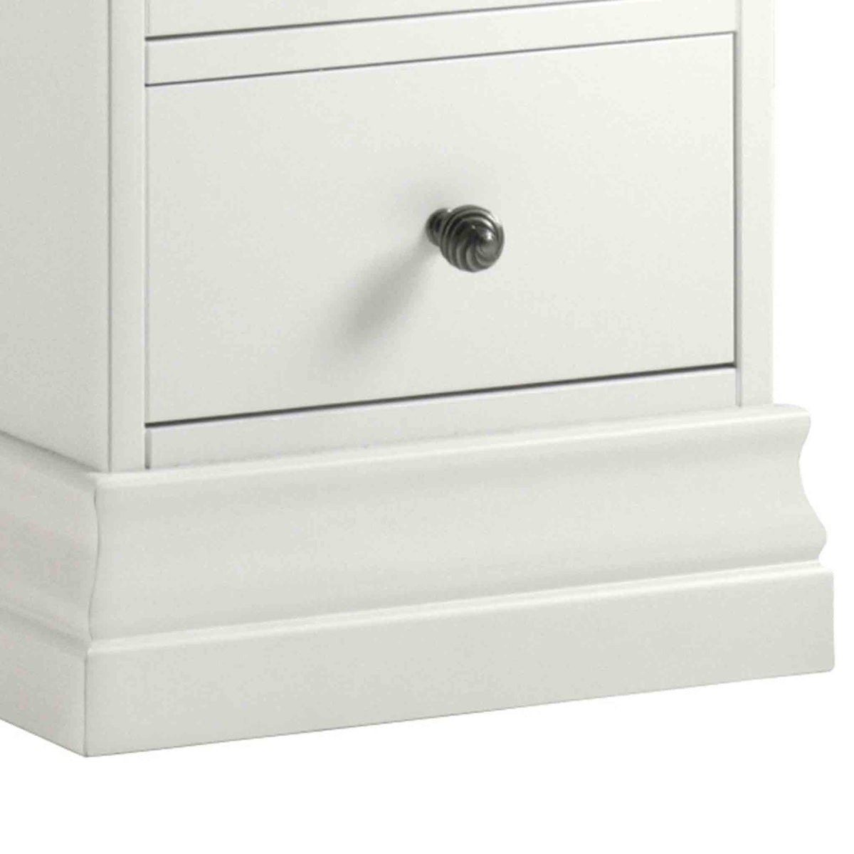 close up of the corniced plinth on the Melrose White Narrow Bedside Table from Roseland Furniture