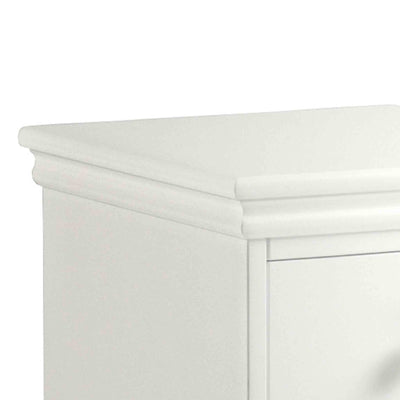 close up of the corniced tabletop on th Melrose White Narrow Bedside cabinet