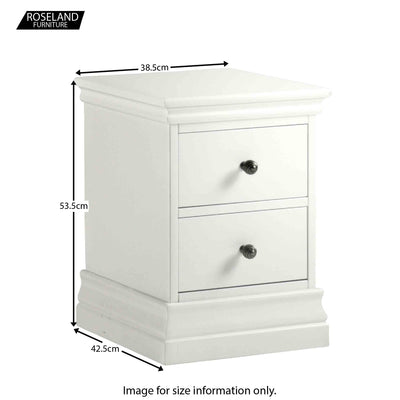 Dimensions for the Melrose White Narrow Bedside Table from Roseland Furniture