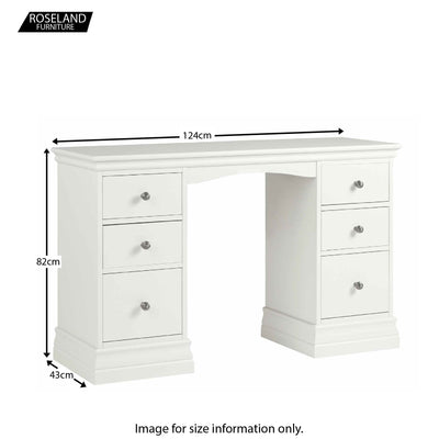Melrose White Double Pedestal Dressing Table Dimensions