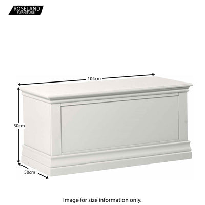 Dimensions for the Melrose White Blanket Storage Chest from Roseland Furniture