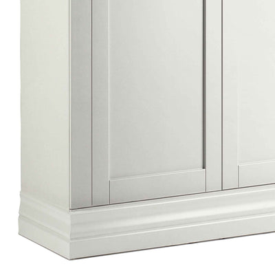 close up of corniced plinth on the Melrose White Narrow Double Wardrobe