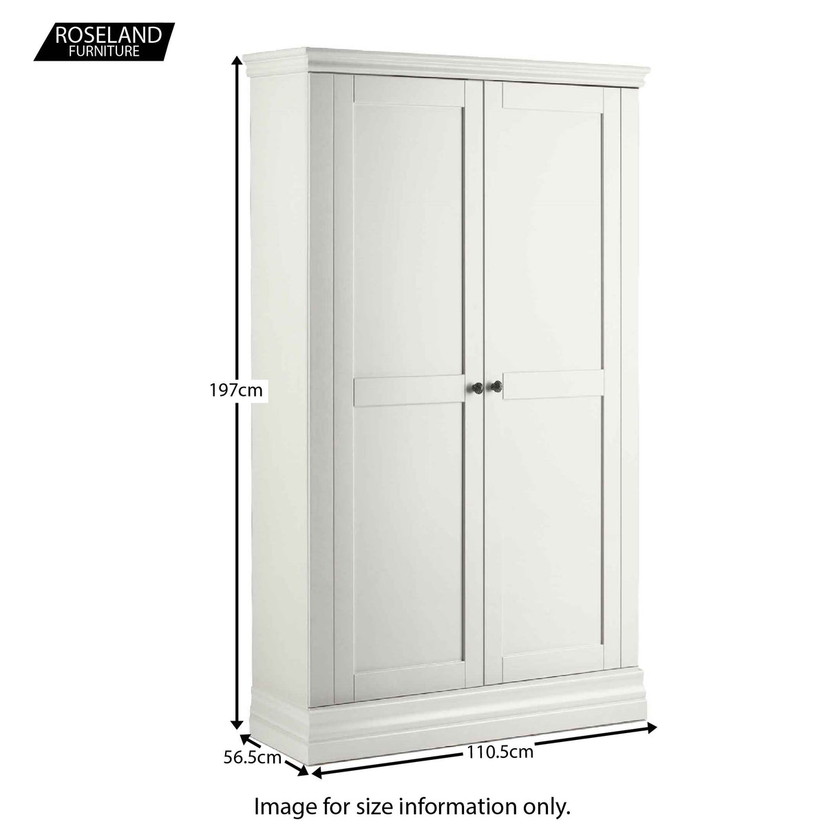 Dimensions for the Melrose White Narrow Double Wardrobe from Roseland Furniture