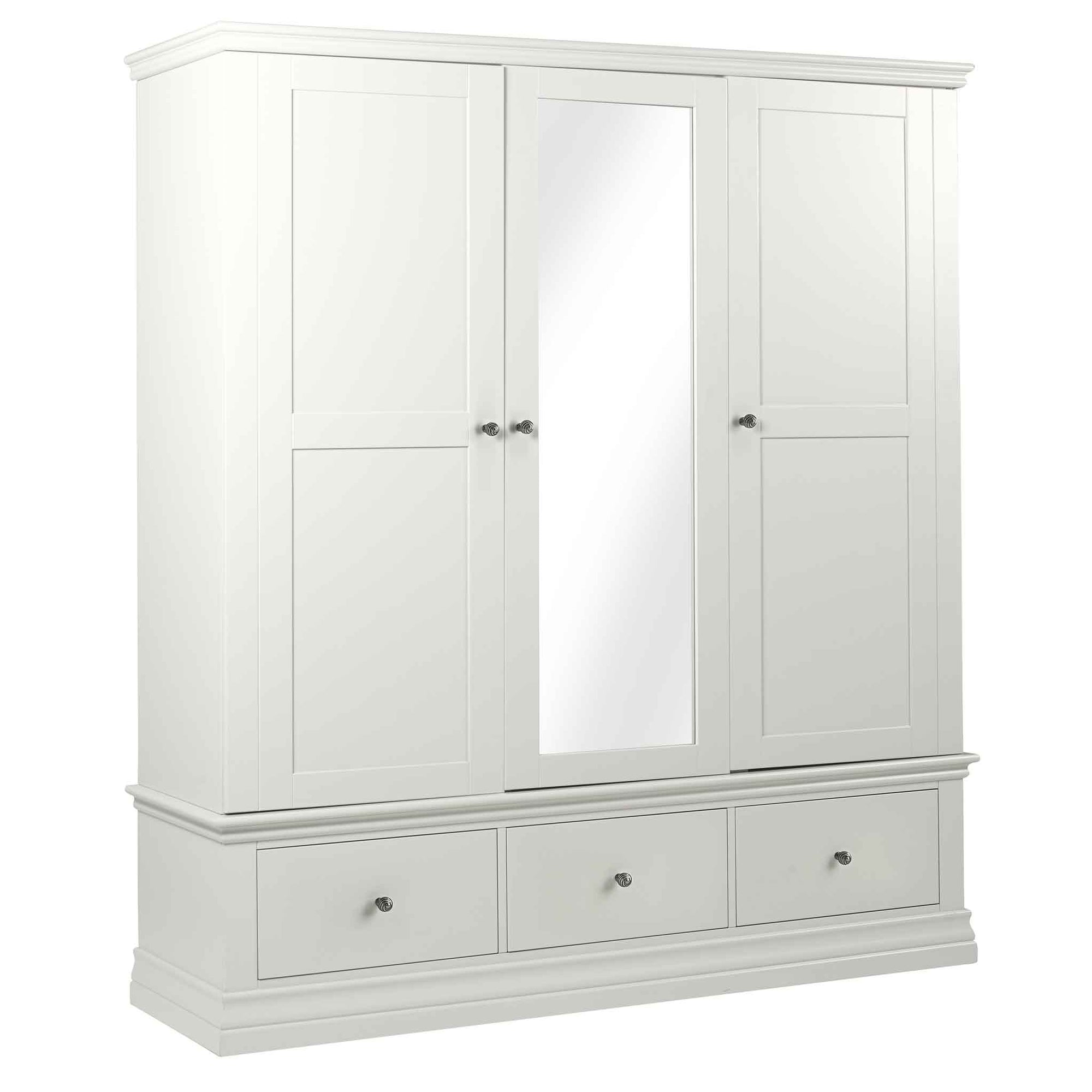 Melrose White Triple Wardrobe with Mirror and Drawers from Roseland Furniture
