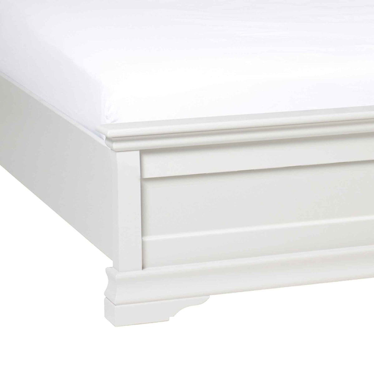 close up of the low footboard on the Melrose White 4ft6 Double Bed Frame from Roseland Furniture