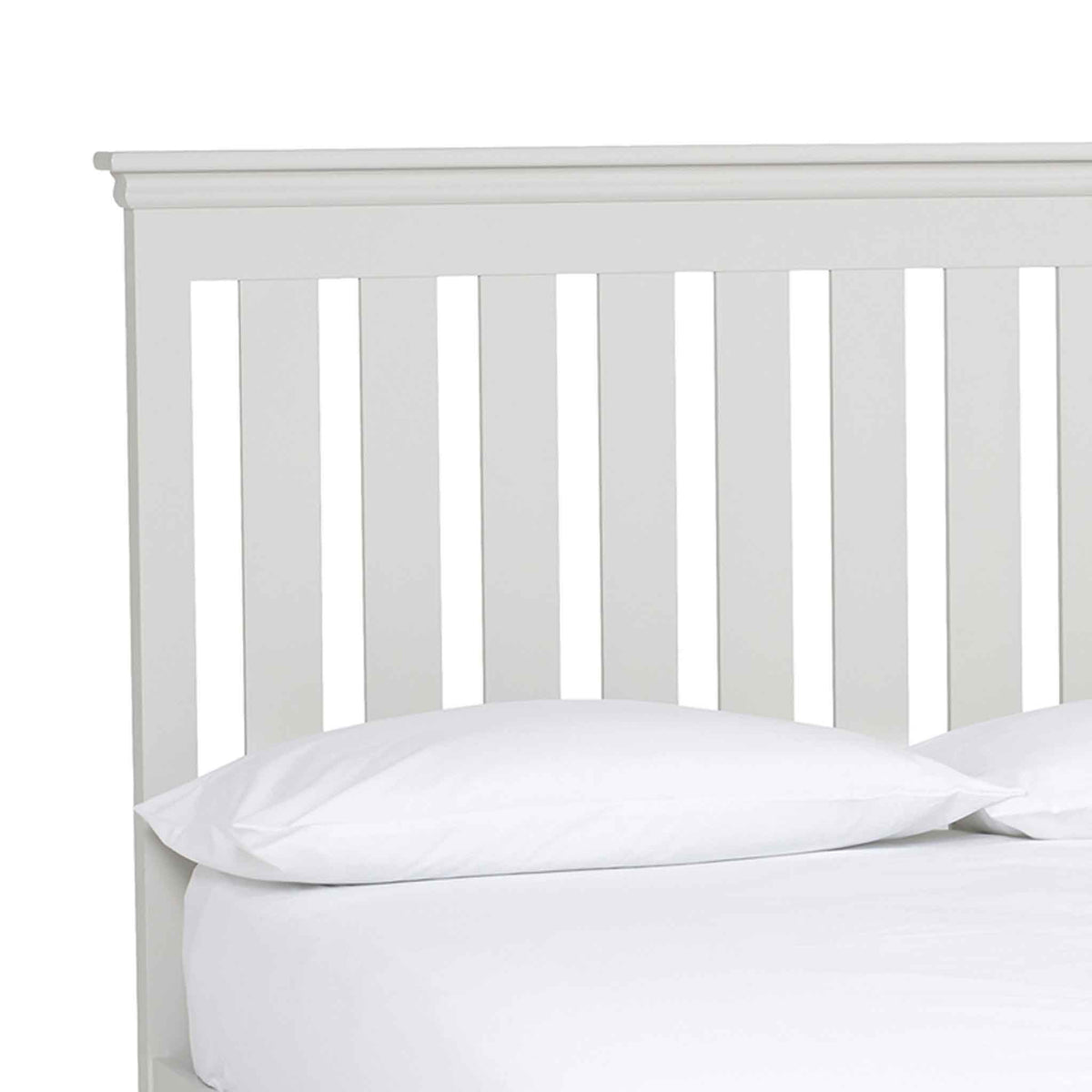 close up of the slatted headboard on the Melrose White 4ft6 Double Bed Frame