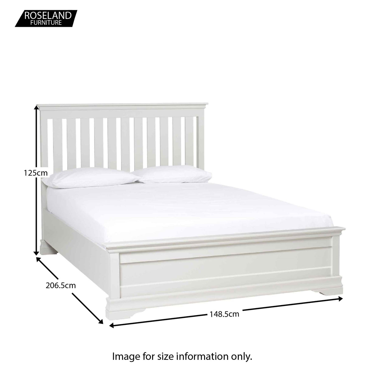 Dimensions for the Melrose White 4ft6 Double Bed Frame