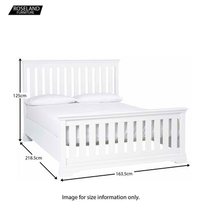 Dimensions for the Melrose White King Size Slatted Bed Frame from Roseland Furniture