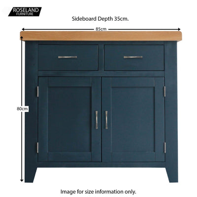 Dimensions for the Chatsworth Blue Small Sideboard from Roseland Furniture