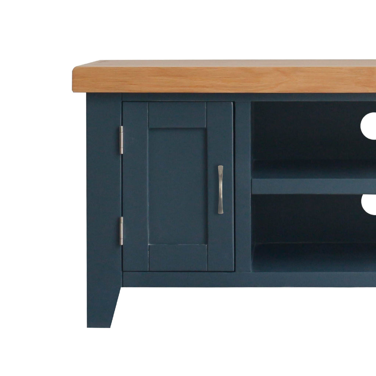 close up cupboard on the Chatsworth Blue 90 cm Small TV Stand from Roseland Furniture