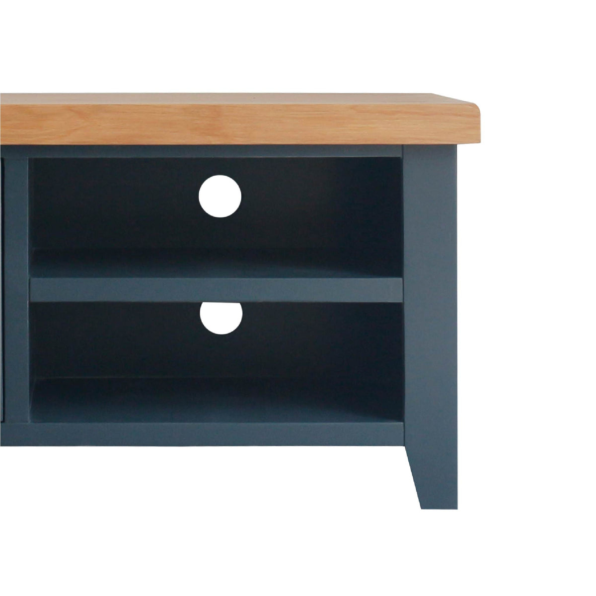 close up of shelves on the Chatsworth Blue 90 cm Small TV Stand from Roseland Furniture
