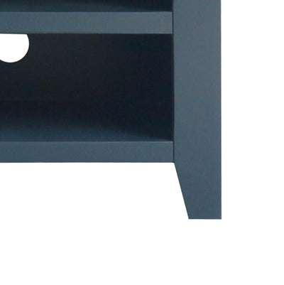 close up of leg on the Chatsworth Blue 90 cm Small TV Stand from Roseland Furniture