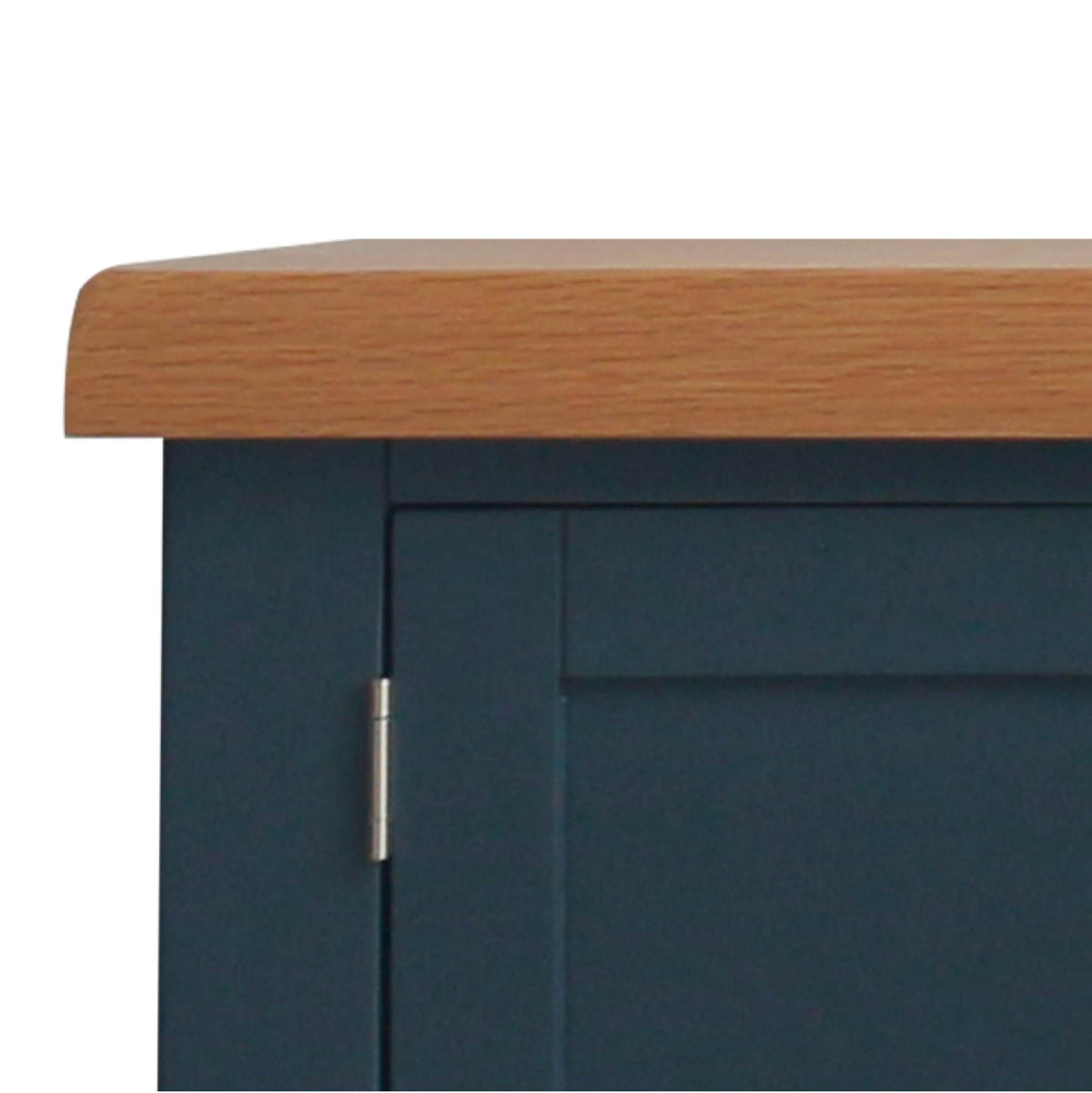close up of oak tabletop on the Chatsworth Blue 90 cm Small TV Stand from Roseland Furniture