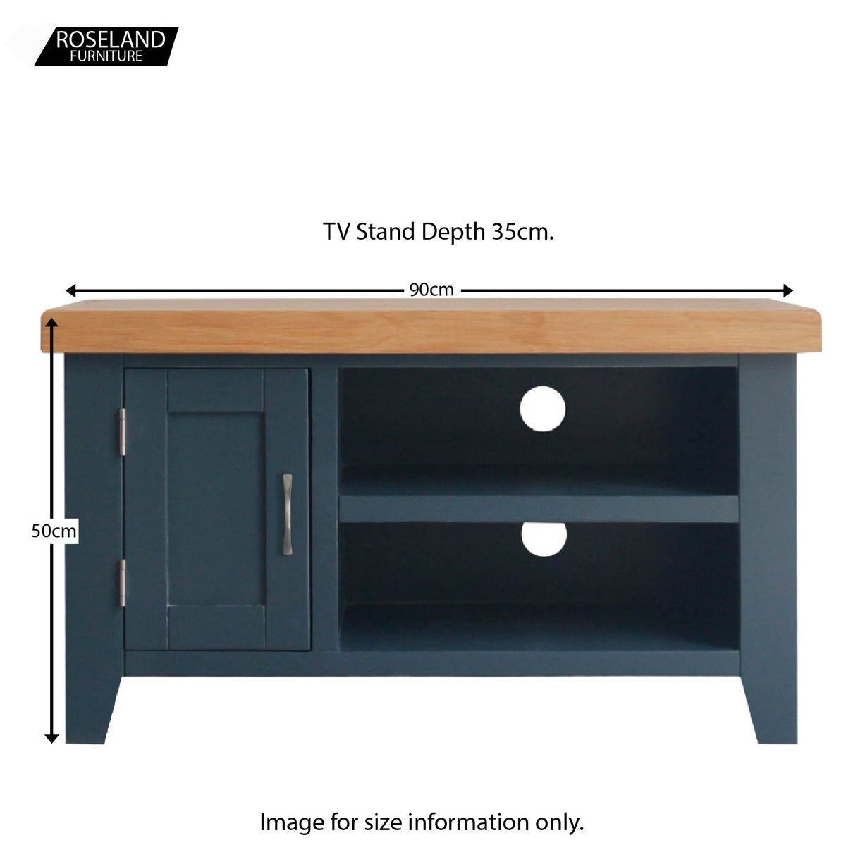 Dimensions for the Chatsworth Blue 90 cm Small TV Stand from Roseland Furniture
