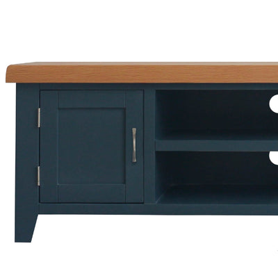 close up of right side cupboard on the Chatsworth Blue Large 150 cm TV Stand from Roseland Furniture