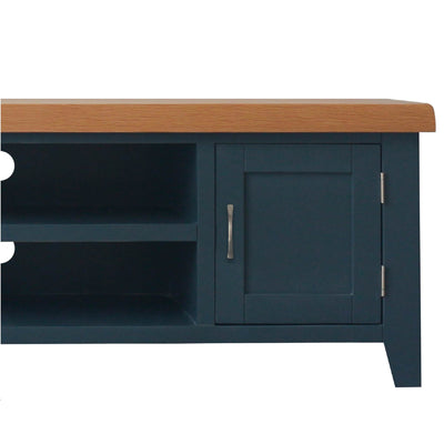 close up of the left side cupboard on the Chatsworth Blue Large 150 cm TV Stand from Roseland Furniture